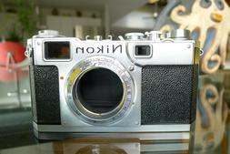 NIKON S2 SILVER 35mm RANGEFINDER CAMERA BODY USED LEATHER CA